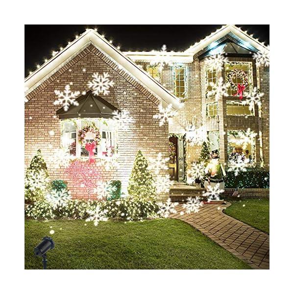 Luce Natale Proiettore Decorazioni Luci Natale Esterno Proiettore Lampada Luce Fiocchi di Neve Decorativi Spotlight di… 2 spesavip