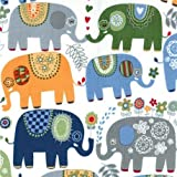 Tela blanca con elefante colores azul gris de Michael Miller Happy Elephants