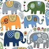 Tela blanca con elefante colores azul gris de Michael Miller Happy Elephants