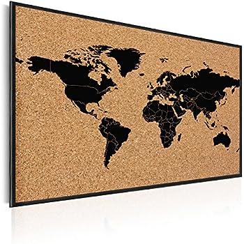 Navaris Kork Pinwand Weltkarte Tafel - 60x40cm Pin Board