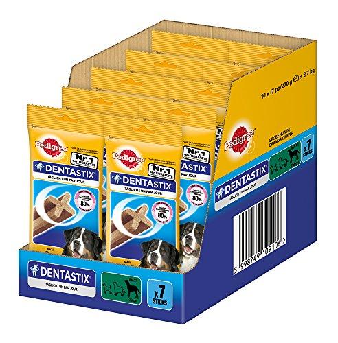 Pedigree DentaStix Hundesnack für große Hunde (25kg+), Zahnpflege-Snack mit Huhn und Rind, 10 Packungen je 7 Stück (10 x 270 g)