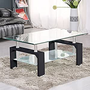 Rectangular glass coffee table side coffee tables living - Glass side tables for living room uk ...