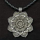 CAMORNY Collar Vikingo Mandala Colgante En Forma De Flor Amuleto De Estilo Nórdico Cadena Trenzada Cuero Joyería Religiosa Adorno Regalo Vikingo,c