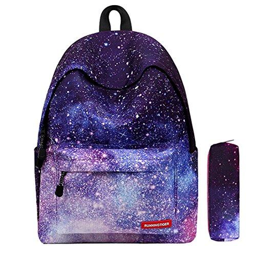 Scuola zaino borsa unisex borsa da viaggio libro daypack rucksack per ragazzi adolescenti e ragazze fuori campeggio picnic sport (viola)