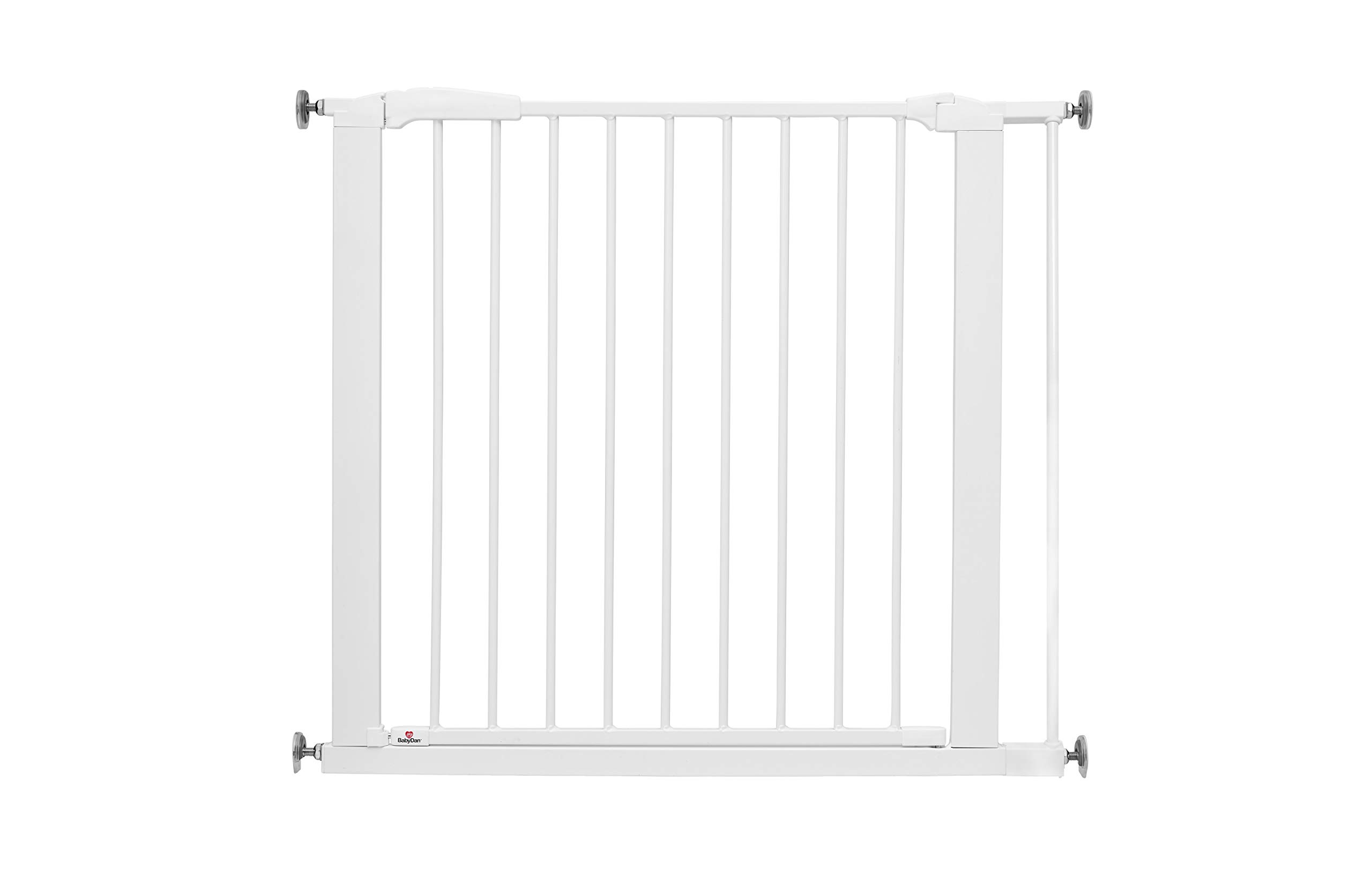 BabyDan Perfect Close Extra Wide Safety Gate - 83.5cm - 90.3cm BabyDan Extra wide pressure fit safety gate. standard gate fits doorways 77.3-83.5cm. max width 110cm Features a unique slam shut or silent close handle which locks closed automatically Extendable up to 110cm with extra exetsnions 1