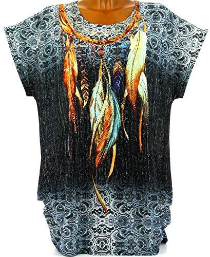 Charleselie94® - Tee shirt tunique plumes grande taille noir CHEYENNE NOIR Noir