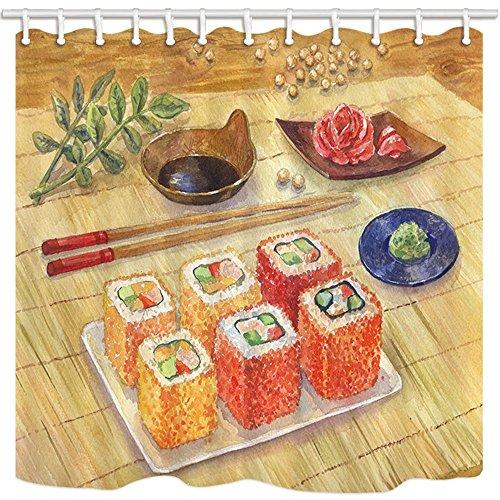 Japanisches Asiatisches Essen Vorhänge Dusche für Badezimmer Watercolor Sushi Rollen Wasabi Ginger auf Bambus Schimmelresistent Duschvorhang Set Haken im Lieferumfang enthalten 180x 180cm