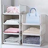 Pudełko do przechowywania w szafie, 4-pak plastikowy organizer na garderobę można układać w stos zdejmowane kosze szafa pojem