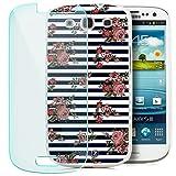 Zanasta Designs Schutzhülle + Panzerfolie für Samsung Galaxy S3/S3 Neo Hülle Case Slim Cover mit Motiv Roses Stripes