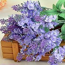 zycshang 2pcs elegante suave Provence lavanda Artificial falsa Flor Bush ramo, montaje para casa tienda decoración de boda