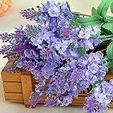 Zycshang 2pcs élégant Soft Provence Lavande artificielle Bush Bouquet de fleurs, installation pour maison Boutique Mariage