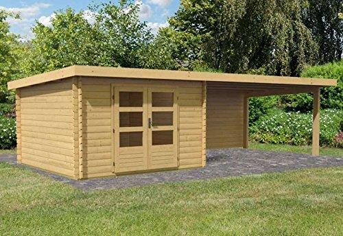 Karibu Woodfeeling Gartenhaus Bastrup 5 mit Schleppdach 4 Meter und Rückwand Außenmaß Haus (B x...