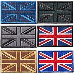 British Union Jack Bandiera Set Toppe Termoadesive, 6 Pezzi ,Toppe Ricamate Patch Adesiva Per Zaini, Vestiti, Jeans, Bambini, Cappello, Scarpe, Maglietta, Borse
