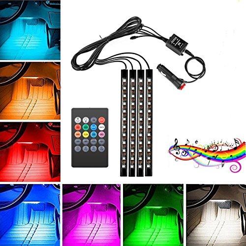 LED-Streifen für das Auto, 4pcs 48 LED DC 12V Innenbeleuchtung für Auto-Kontrolle durch Musikschlag, mehrfarbige LED's unter dem Armaturenbrett Beleuchtungs-Kit mit aktiver Sound-Funktion und drahtlose Fernbedienung, Auto-Ladegerät enthalten (IR)