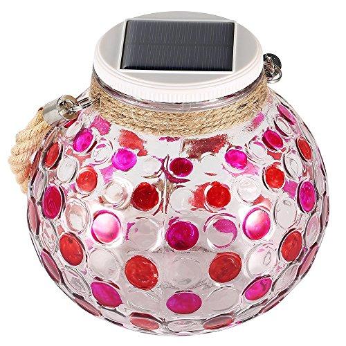 KEEDA Solar Kugel Laterne Glas RGB Farbwechsel Solarlampe LED Tischleuchte für Außen Garten Balkon Deko mit Henkel(Rot)
