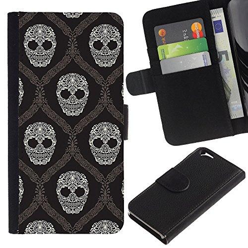 Graphic4You Lachend Schädel Totenkopf Design Brieftasche Leder Hülle Case Schutzhülle für Apple iPhone 6 / 6S Design #7
