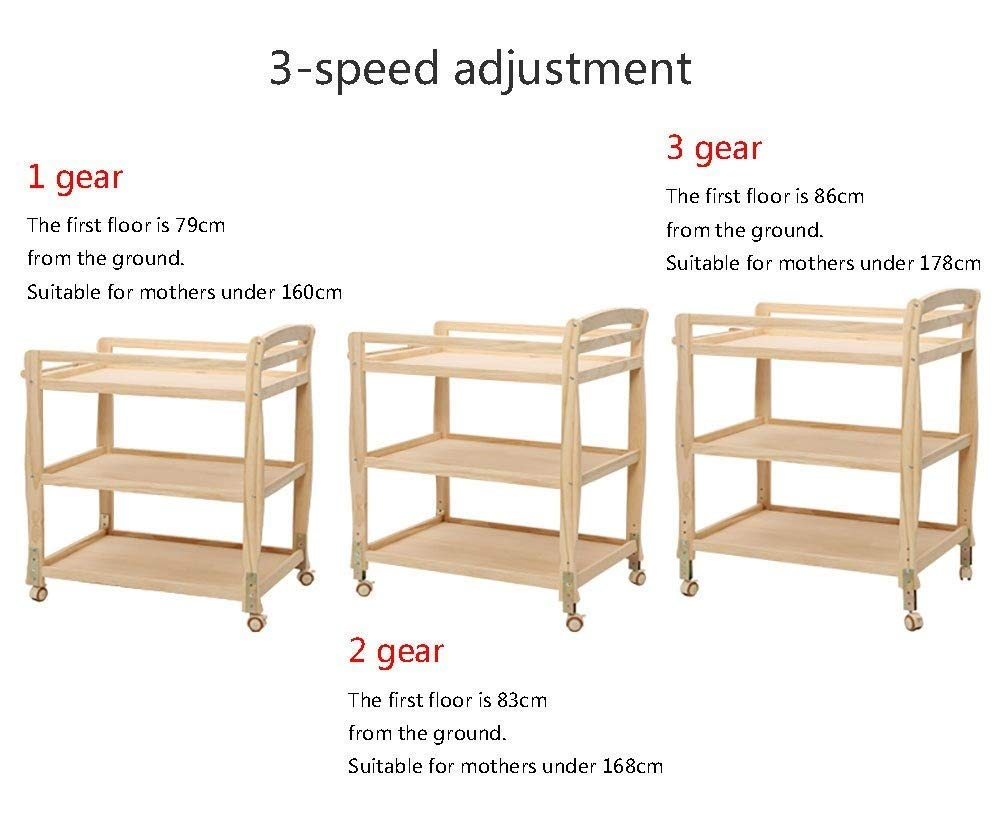 Baby Changing Table Wooden On Wheels - Infant Newborn Nursery Mobile Diaper Station Height Adjustable, Baby Cot (Color : Green) GUYUE 3-gear higth adjustment, the height can be adjusted freely according to the height of the mother. Guardrail: Guardrail height 13cm, Protect your baby's delicate body. Strong and sturdy wood construction, Pine wood production, health and Environmental Protection.(Load bearing 150kg) 4