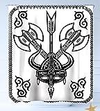 Haixia Wasserabweisend Stoff Duschvorhang Viking Helm mit Horn Pfeil AXT Antik Krieg Keltischer Stil Mittelalter Schlacht Art Prints Schwarz Weiß, Mehrfarbig, 69 inch X 84 inch