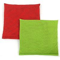 Preisvergleich für Set Kirschkernkissen Wärmekissen Körnerkissen ca.25 x 25 cm rote kleine Punkte und kleine grüne Punkte