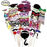 Foonii 76 pcs photo booth props Accessori fai da te colorati occhiali baffi labbra farfallino cappelli su bastoni per matrimonio partito Natale compleanno