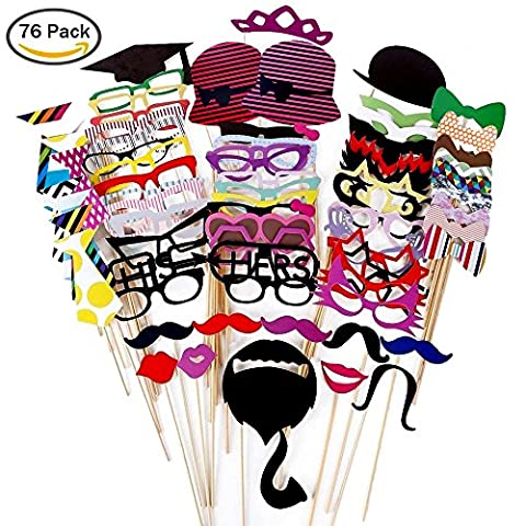 foonii 76PCS Foto Booth Props Zubehör von Mosaiken Bunte Brille Schnurrbart Lippen Fliege Hüte auf Stöcke für Hochzeit Partei Weihnachten Geburtstag