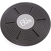 66fit Wobble Balance Board 36cm - Includes Balance Training Ebook - Ankle Knee Back Hip Exercise Strength Training, Black