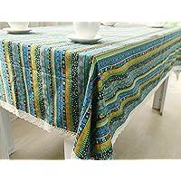 MeMoreCool Rosso Boho stile nazionale motivo a righe tavolo rettangolare panno multifunzione polvere dining-table panno, panno di lino cotone art 61x 61cm, Cotone, Green, 39 inch by 55