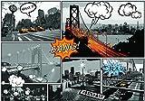 Fototapete Vlies Tapete Vliestapete ForWall Comic-Städte VEXXL (312cm. x 219cm.) Photo Wallpaper Mural AMF10676VEXXL Stadt Städtisch Comic Brücke New York Taxi