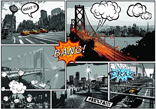 Welt-der-träume | papier peint intissé 130 g/m² | Comics Villes | | 10676 _ Ve-aw | City Urban Comics pont New York Taxi Cab America, Black and White,yellow, VEL