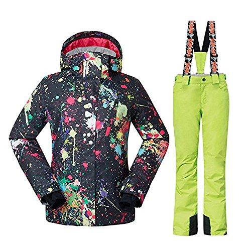 Wonny 2 Teilig Skianzug Wasserdicht Schneeanzug Jacke und Hosen Unisex Skiset Schwarz Grün