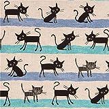 Naturfarbener schwarze Katze türkiser blauer Streifen