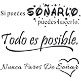 3pcs Pegatinas Pared Vinilos Frases Motivadoras Citas Inspiradoras Español Letras Stickers Adhesivos Negro Decorativos Habita