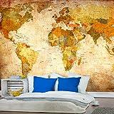 decomonkey | Fototapete Weltkarte braun Landkarte Kontinente 400x280 cm XL | Tapete | Wandbild | Bild | Fototapeten | Tapeten | Wandtapete | Wanddeko | Welt Karte Büro gelb orange Wand Dekoration Schlafzimmer Wohnzimmer