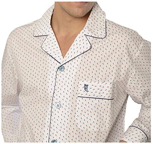 El Búho Nocturno - Ensemble de Pyjama Hommes Long Imprimé, Vêtements de Nuit Classiques pour Homme - Tissu en Popeline, 100% Coton - Blanc El Búho Nocturno