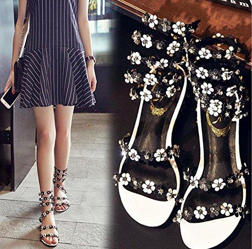 sandales élégantes à bout ouvert-fleurs femelles autour des chaussures plates de la cheville frappé diamant couleur Black