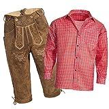 Gaudi-Leathers Herren Set Lederhose Hellbraun und Trachtenhemd Rot Weiß Kariert Gr. Hose 52 Hemd M