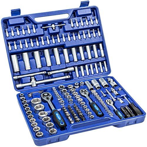 TecTake Valigetta chiavi a cricchetto assortimento attrezzi 171 pezzi bussola | Attacco misto 1/4', 3/8' e 1/2'
