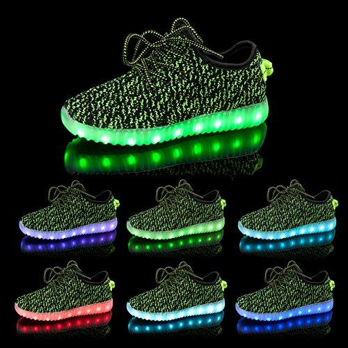 LEADFAS LED Schuhe, 7 Farben Leuchten Sneaker Männer Frauen Sport Draussen Sportlich USB Aufladungs Trainer für Weihnachten Halloween Geschenk Jungen Mädchen LED Paar Turnschuh Grün