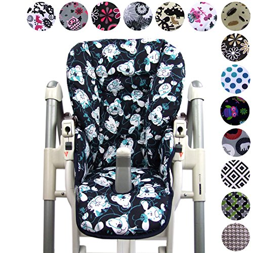 Babys-Dreams Sitzkissen Ersatzbezug für Peg Perego Prima Pappa Diner *20 FARBEN* NEU (Bärchen Blau) (Pappa Prima Hochstuhl)
