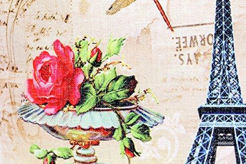 Kissenbezug Klara 40x40cm Sofa Kissenhülle Eifelturm Paris Postkarte Shabby Vintage Briefmarke French Chic alte Schrift Nostalgie Kissen Dekokissen - 2