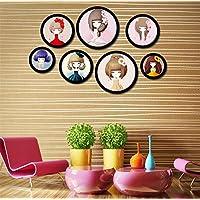 Marco de fotos de marcos de fotos redondo negro de bricolaje colgar oficina casa marco de