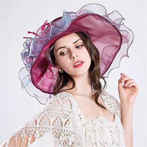 AM-women's hat Mode Sonnenblumen-Sommer-Strand-Hut des Blumen-Gaze-Kappen-Strand-im Freien Komfort (Farbe : Lila)