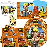 Bob der Baumeister Partyset 53 Teile für 16 Kinder Teller Becher Servietten Tischdecke