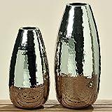 Dapo Deko-Vase Gisa H40cm Aluminium Silber Dekoration Blumenvase Tischvase Bodenvase Modern