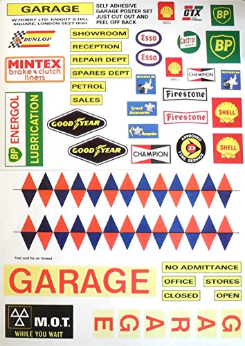 Preisvergleich Produktbild MODEL GARAGE STICKER SET 39 ASSORTED POSTERS SIGNS INCLUDING ESSO, SHELL, GOOD YEAR, FIRESTONE ETC