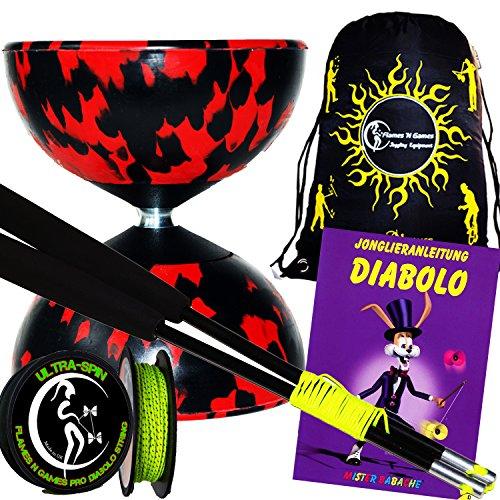 HARLEKIN Pro Diabolo Set (10 Farbvarianten) + Diablo Carbon-Handstäbe + 10m ULTRA-SPIN Diaboloschnur + Mr Babache Diabolo Booklet von Tricks (in Deutsch) + Reisetasche! (Rot/Schwarz)