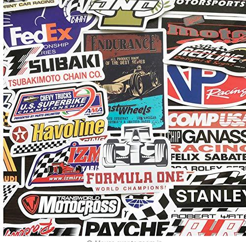 YLGG F1 Rennwagen Aufkleber Für DIY Auto Styling Aufkleber Motocross Racing Skateboard Helm Laptop Gepäck Formel 1 Aufkleber 50 Stücke