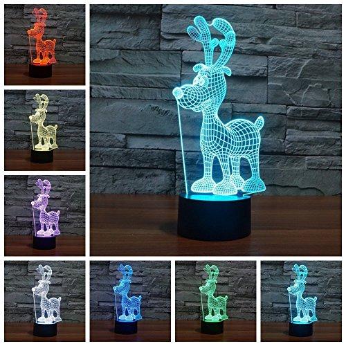 3D Tisch Nachttischlampen,KINGCOO 3D Optische Visualisierung LED Licht USB Schreibtischlampen Stimmungslichter Touch Schreibtisch 7 Farbwechsel Atmosphäre Lampe (Elch) -