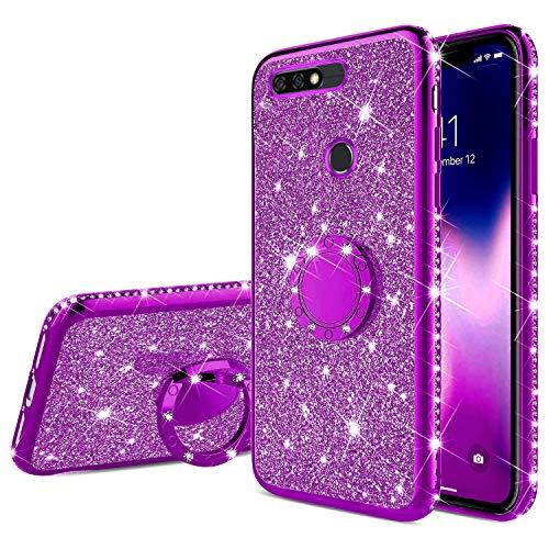 Uposao Kompatibel mit Huawei Honor 7C Glitzer Handyhülle mit Ring Ständer Halter Kristall Bling Luxus Strass Diamant TPU Silikon Hülle Case Tasche Cover Transparent Handytasche,Lila
