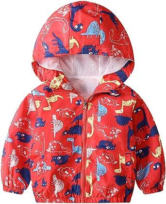 JinBei Bambino Cappotto Giacca a Vento Con Cappuccio Sottile Giacche e Cappotti Ragazzo Abbigliamento per La Tuta Solare Cerniera Lampo Bimbo Autunno Protezione Solare Vestiti Impermeabile 1-7 Anni